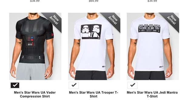 Items in Under Armour's Star Wars collection can be seen at its website. (Screen shot of Underarmour.com)