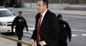 Former Subway pitchman Jared Fogle arrives at the federal courthouse in Indianapolis, Thursday. Fogle formally pleaded guilty and is due to be sentenced on charges of trading child pornography and paying for sex with minors. (AP Photo/Michael Conroy)
