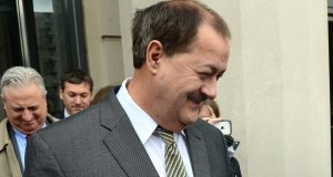 Don Blankenship smiles as he leaves the federal courthouse after the verdict in his trial in Charleston, W.Va., Thursday Dec. 3, 2015. The former Massey Energy CEO was convicted of a misdemeanor count connected to a deadly coal mine explosion and acquitted of more serious charges. (F. Brian Ferguson/Charleston Gazette via AP)