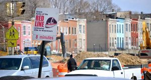 This 2013 photo depicts a sign near the West Baltimore MARC train station. (File)