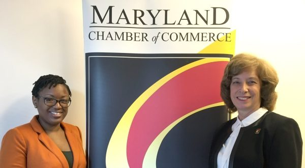 Deriece Pate Bennett, left, chief lobbyist for the Maryland Chamber of Commerce, and Kathy Snyder, the longtime chamber president who has returned on an interim basis. (Anamika Roy/The Daily Record)