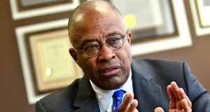 Kurt Schmoke, President of the University of Baltimore. Photo taken during a newsmaker interview. (The Daily Record/Maximilian Franz).