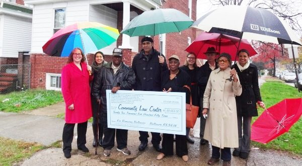 Six Baltimore City neighborhoods donated $22,500 from settlement funds on Giving Tuesday to the Community Law Center to help the organization fight vacant properties. From left: Kristine Dunkerton, CLC Executive Director; Shana Roth-Gormley, CLC Pro Bono Coordinator; Robert Hunt, President, Alliance of Rosemont Community Organizations; Mark Washington, Executive Director, Coldstream-Homestead-Montebello Community Corp.; Joyce Smith, President, Operation ReachOut SouthWest; Robin Jacobs, CLC Director of Strategic Legal Services Projects; Mike Hilliard, Executive Director, HARBEL; Grace Willis, Board member, Greater Greenmount Community Association,  Thomasina Poroit, Esq., Venable LLP.