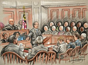 In this courtroom sketch, Attorney Joseph Murtha, center, points to his Client, Officer William Porter, during closing arguments in the Baltimore City Circuit Courthouse. (The Daily Record/Maximilian Franz)