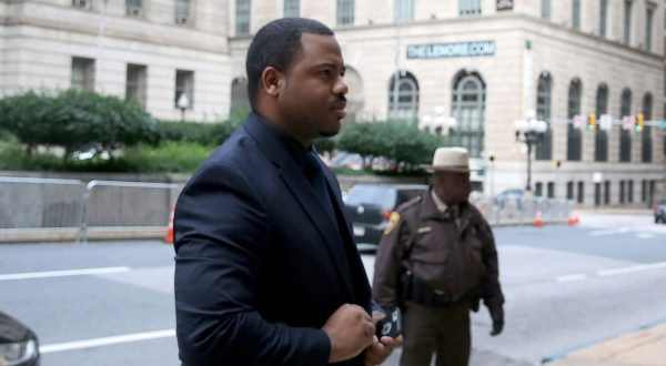 William Porter, one of six Baltimore police officers charged in connection to the death of Freddie Gray, arrives at Baltimore City Circuit Court last month. (Mark Wilson/Pool Photo via AP)
