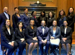 The author, standing, second from right, prior to being admitted to the Supreme Court bar. Baltimore City Circuit Judge Lynn Stewart Mays, who moved for her admission, is sitting third from left. (Courtesy Danielle Williamson)