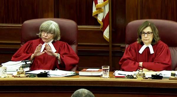 Maryland Court of Appeals Judge Lynne A. Battaglia, left, and Chief Judge Mary Ellen Barbera take part in oral arguments on Monday. (Maryland Judiciary photo)