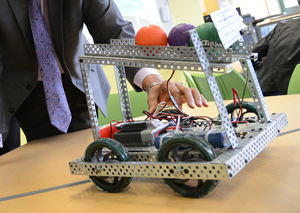 A robot created in a Baltimore middle school from a robotics club similar to what Del Reznik is working to create in Montgomery county. (The Daily Record/Maximilian Franz)