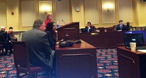 Kerri Kasem, seated middle, the daughter of the late Casey Kasem, testifies before the Senate Judicial Proceedings Committee in favor of enabling adults to seek court orders letting them to visit their incapacitated parents over the wishes of guardians and spouses. Seated next to her is Sen. Edward R. Reilly, R-Anne Arundel, the bill's sponsor. (Steve Lash)
