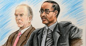 Officer Caesar Goodson, right, sits in Baltimore City Circuit Court on Monday morning with Andrew Jay Graham, one of his lawyers. Jury selection was supposed to begin Monday in Goodson's trial on charges in connection with the death of Freddie Gray but the Court of Special Appeals stayed the trial pending a decision on whether Officer William Porter must testify at Goodson's trial. (Illustration by Maximilian Franz)