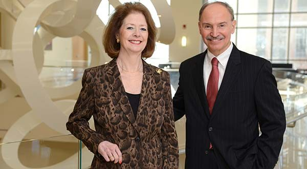 Bonnie Phipps, Senior VP, Ascension Health/Group Ministry Operating Executive, left,  and Bob Chrencik, President and CEO of University of Maryland Medical System. (The Daily Record/Maximilian Franz).