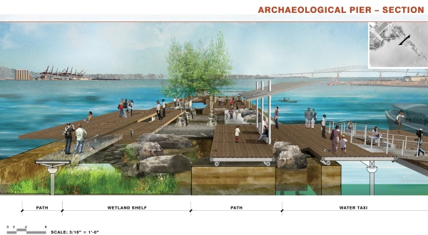 A schematic showing the Archaeological Pier Section  of the proposed Port Covington East Waterfront Park. (Courtesy Sagamore Development Co.)