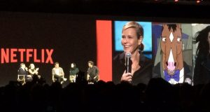 "Ted Sarandos, Netflix's chief of content, leads a panel discussion at CES 2016 with stars of some of the company's original productions: comedian Chelsea Handler, second from left, (""Chelsea Does""); actor Will Arnett (""BoJack Horseman"" and ""Flaked""); actress Krysten Ritter (""Jessica Jones""); and actor Wagner Moura (""Narcos""). (Photo: Frank Gorman)"