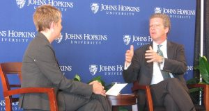 White House Office of Management and Budget Director Shaun Donovan, right, talks with Johns Hopkins University Professor Kathryn Edin at the Carey Business School Wednesday, Jan. 13, 2016.