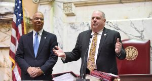 Gov. Larry Hogan, right, and Lt. Gov. Boyd Rutherford welcome state senators to the 2016 legislative session. (The Daily Record / Maximilian Franz)
