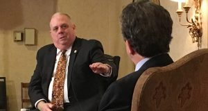 Gov. Larry Hogan speaks to Marc Steiner during the Annapolis Summit in 2016. (Maximilian Franz/The Daily Record)