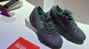 Under Armour's Gemini 2 running shoes (pictured at top) with sensors shoes that enable fitness tracking on your smartphone. (Photo: Frank Gorman)
