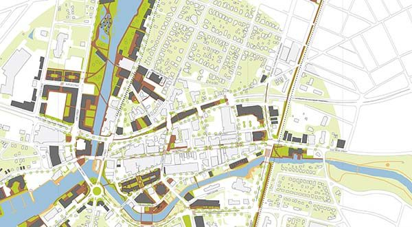 This is a detail of the Draft 2015-2035 Downtown Salisbury Master Plan. Light green indicates existing green areas, while dark green indicates proposed additional green areas. Light brown areas indicate existing paths, while dark brown areas indicate proposed paths. Existing buildings are in white; proposed buildings are in dark gray. (Submitted illustration)