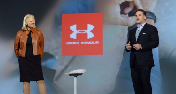CEO Kevin Plank with IBM Chairman and CEO Ginni Rometty on the keynote stage at CES, where they announced a partnership (Under Armour submitted photo)