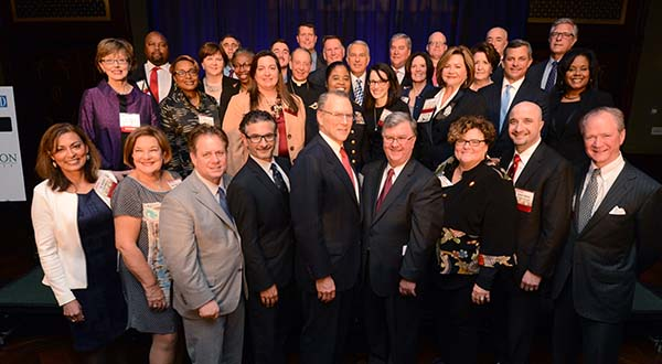 Winners in attendance at the 2015 Influential Marylanders awards event. (The Daily Record / Maximilian Franz)