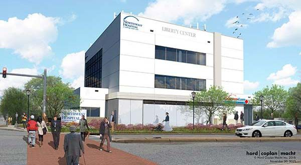 This rendering depicts the new Liberty Center, whose opening was celebrated Friday.  It contains an urgent-care center.  Image submitted by LifeBridge Health courtesy of Hord coplan macht.