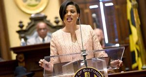 Mayor Stephanie Rawlings-Blake gives her final State of the City address on Monday. (The Daily Record / Maximilian Franz)