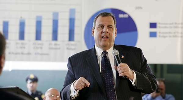 In this Wednesday, Feb. 25, 2015 file photograph, New Jersey Gov. Chris Christie addresses a gathering at a town hall meeting in Moorestown, N.J. The Supreme Court is refusing to disturb a ruling from New Jersey's top court that sided with Gov. Chris Christie in a legal fight with public worker unions over pension funds.  (AP Photo/Mel Evans,file)