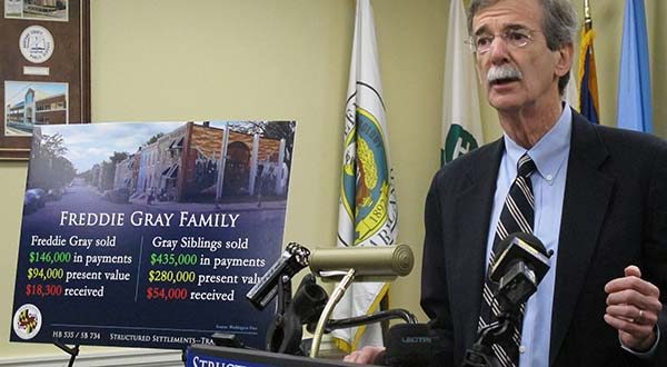 Maryland Attorney General Brian Frosh calls for reforms to structured settlement cases for lead paint cases during a news conference in Annapolis, Md., on Thursday, Feb. 25, 2016. Legislation seeks to protect people from bad deals offered by businesses that have bought legal settlements from victims, such as Baltimore's Freddie Gray, at a steep discount. (AP Photo/Brian Witte)