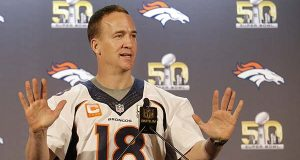 Denver Broncos quarterback Peyton Manning speaks to reporters in Santa Clara, Calif., Wednesday, Feb. 3, 2016. The Denver Broncos will play the Carolina Panthers in Super Bowl 50 on Sunday. (AP Photo/Jeff Chiu)