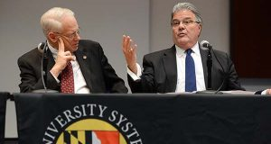 In this photo taken in 2014, William (Brit) Kirwan, who was then Chancellor of the University System of Maryland, left, is pictured with Dr. Robert L. Caret, the current chancellor. A bill under consideration plans to relocate the University System's headquarters from Adelphi to Baltimore.