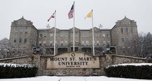 Snow covers the ground in front of Bradley Hall at Mount St. Mary's University in Emmitsburg, on Feb. 9 (Bill Green/The Frederick News-Post via AP)