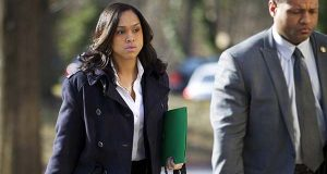 Baltimore State's Attorney Marilyn Mosby, left, arrives at Maryland Court of Appeals on Thursday, March 3, 2016, in Annapolis. (AP Photo/Jose Luis Magana)