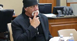Terry Bollea, known as professional wrestler Hulk Hogan, watches potential jurors at the Pinellas County Courthouse, in St. Petersburg, Fla., on March 1, 2016, during jury selection in his case against Gawker Media. (Scott Keeler/The Tampa Bay Times via AP)