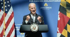 Vice President Joe Biden speaks about his anti-cancer crusade at Johns Hopkins, during the March 2019 launch event for the Bloomberg-Kimmel Institute for Cancer Immunotherapy. (The Daily Record / Maximilian Franz)