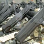 Guns on display at FreeState Gun Range in Middle River.  (Maximilian Franz/The Daily Record)