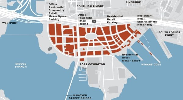 The $5.5 billion Port Covington project is dependent on city authorization of bonding to build public infrastructure facilities on the site, with increased property taxes on the development paying for the bonds. (Courtesy Sagamore Development Co.)