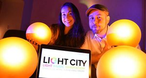 Brooke Hall, Founder and CEO, and Justin Allen, Creative Strategist, at What Works Studio, concept designers behind the vision of Light City. (The Daily Record/Maximilian Franz).