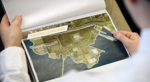 A look at some of the informational material produced by Sagamore Development Co. for its $5.5 billion Port Covington development proposal. (Maximilian Franz / The Daily Record)