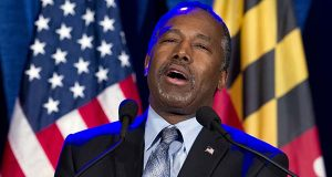 In this March 1, 2016 file photo, Ben Carson speaks during an election night party in Baltimore. Carson says 'no path forward' in 2016 race after Super Tuesday results. ( AP Photo/Jose Luis Magana, File)