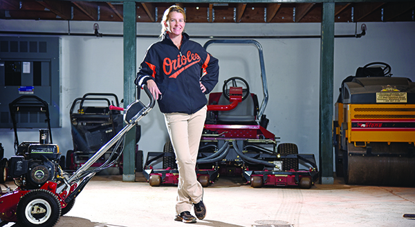 Nicole McFadyen oversees a team of 26 seasonal crew members and nine regular employees to maintain Oriole Park at Camden Yard's playing surface. Maximilian Franz/The Daily Record