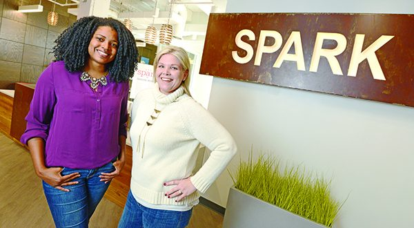 From left, Shervonne Cherry, community manager, and Beth Boots Workman, director of operations at Spark.