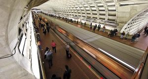 A Metro train departs the Gallery Place-Chinatown Metro station Tuesday, March 15, 2016 in Washington. (AP Photo/Alex Brandon)