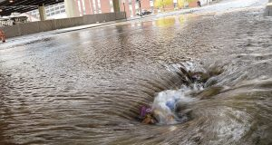 Stormwater runoff in Baltimore city. The Court of Appeals last week ruled against environmental organizations which argued the Maryland Department of the Environment's stormwater permits for Baltimore and several Maryland counties were unlawfully vague because the agency did not provide clear benchmarks, guidelines and standards for stormwater. (Maximilian Franz/The Daily Record)