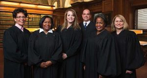 The sitting judges on the Baltimore City Circuit Court. From left: Judge Audrey J.S. Carrion, Judge Wanda Keyes Heard, Judge Karen Chaya Friedman, Judge Michael A. DiPietro, Judge Cynthia H. Jones and Judge Shannon E. Avery. (Photo courtesy of Baltimore City Sitting Judges Committee)