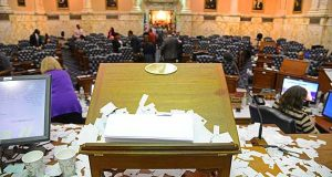 The view from the House Speaker rostrum covered with confetti at the end of Sine Die. The session ended without a resolution of the issue of whether commercial fantasy gaming sites are legal.(The Daily Record / Maximilian Franz)