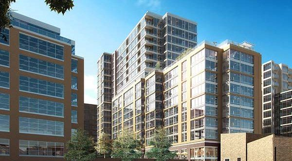 1405 Point, a 17-story building with 289 apartment units, is part of the $1 billion Harbor Point development. (Courtesy Beatty Development Group)