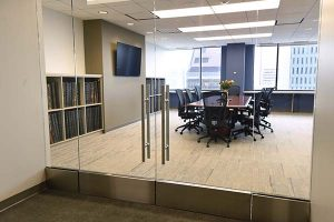 A conference room in the new offices of The Daily Record offers a place to meet with views of downtown Baltimore. (The Daily Record / Maximilian Franz)