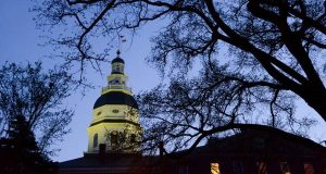 The Maryland State House on Monday night, the final day of the 2016 General Assembly session. (Maximilian Franz/The Daily Record)
