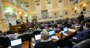 The House of Delegates in session on the final day of the 2016 General Assembly session. (Maximilian Franz/The Daily Record)