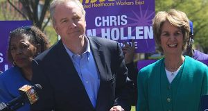 Maryland Rep. Chris Van Hollen speaks during a news conference in Baltimore on Wednesday, April 13, 2016. Hollen said that a new ad released by a PAC supporting his opponent, Rep. Donna Edwards, in Maryland's U.S. Senate Democratic primary is misleading voters about his positions on gun control. Former Maryland Lt. Gov. Kathleen Kennedy Townsend is standing right and state Sen. Joan Carter Conway, D-Baltimore, is standing left. The White House has asked for the ad to be pulled, because it uses President Barack Obama's image in a misleading context. (AP Photo/Brian Witte)